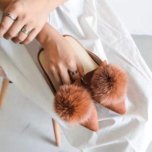 Rabbit fur ball slippers